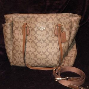 Coach Signature Canvas & Leather Trim XLG Bag